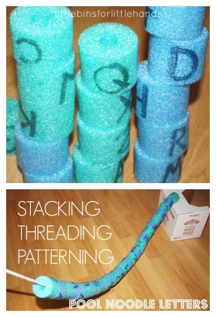 Pool Noodle Letter Activity Stacking Patterning Threading Pool Noodle Alphabet Letters for preschool