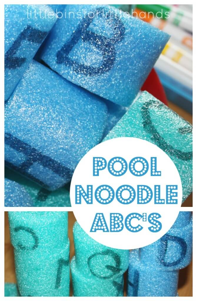 Pool Noodle Letter Learning Activity for kids toddler and preschool alphabet ideas with pool noodles