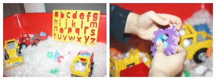 Puzzle Play Activity Winter Sensory Bin with letters and Numbers Puzzles