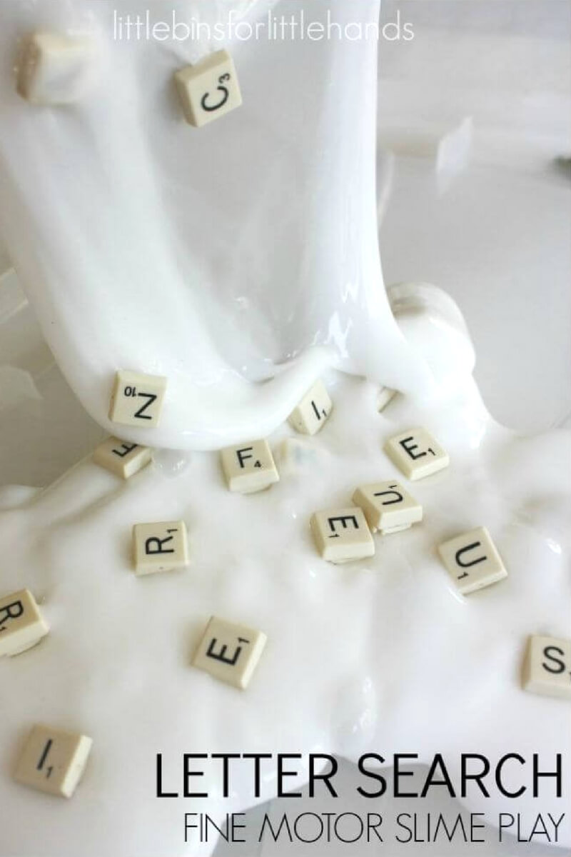 There are so many cools ways to play with homemade slime! If you have kids who love their hands in anything oozey, squishy, and most definitely slimey but you also need to incorporate some early learning skills, this alphabet letter slime is perfect for you. Learn how easy it is to make homemade slime and add a multi dimensional education component to it!