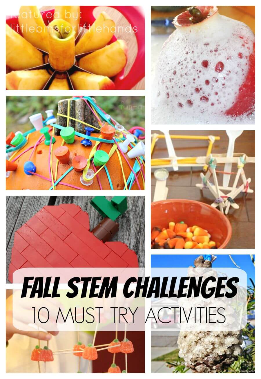 Fall Science Activities Fall STEM Challenges for Kids including apple science, pumpkin science, engineering projects, slime making, and more!