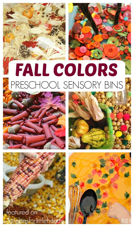 Fall Sensory Bins Preschool Fall Color Activities Sensory Play