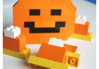 Halloween Activity building LEGO Jack O Lantern Pumpkin and Candy Corn