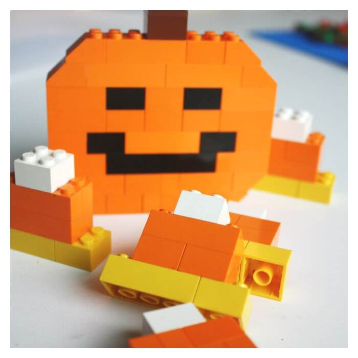 Halloween Activity building LEGO Jack O Lantern Pumpkin and Candy Corn