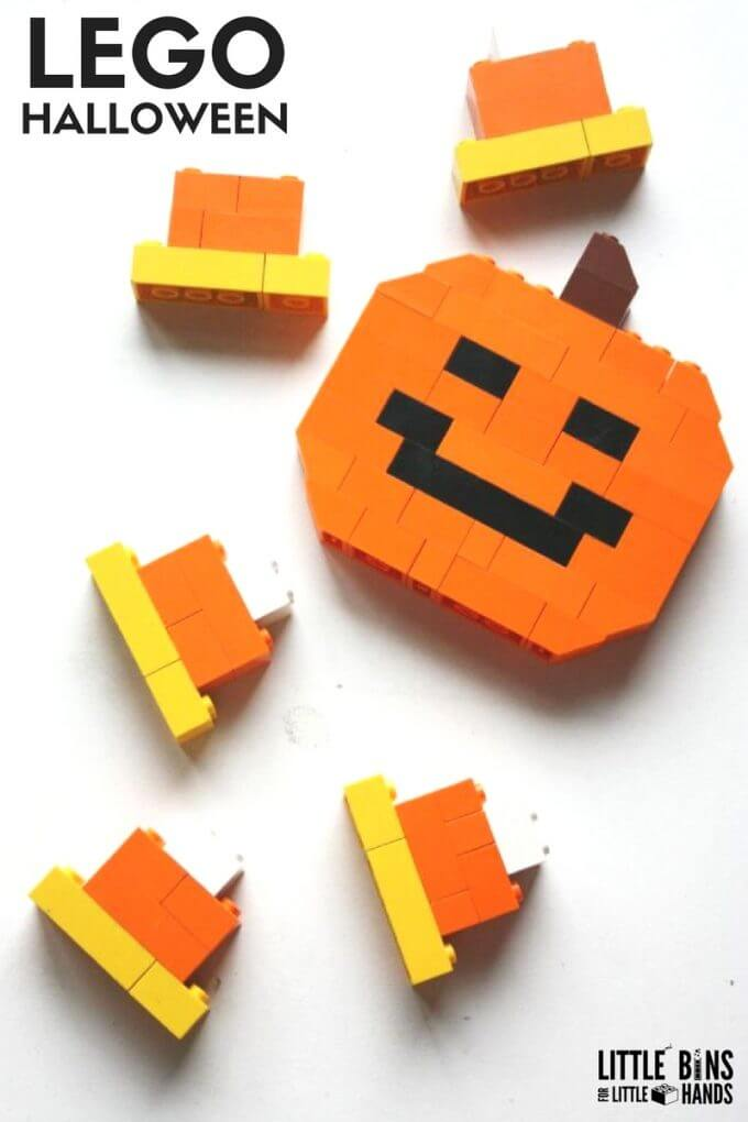 Build a LEGO Halloween theme Jack'O Lantern and easy LEGO candy corn pieces. Free Halloween themed LEGO Challenge calendar too.