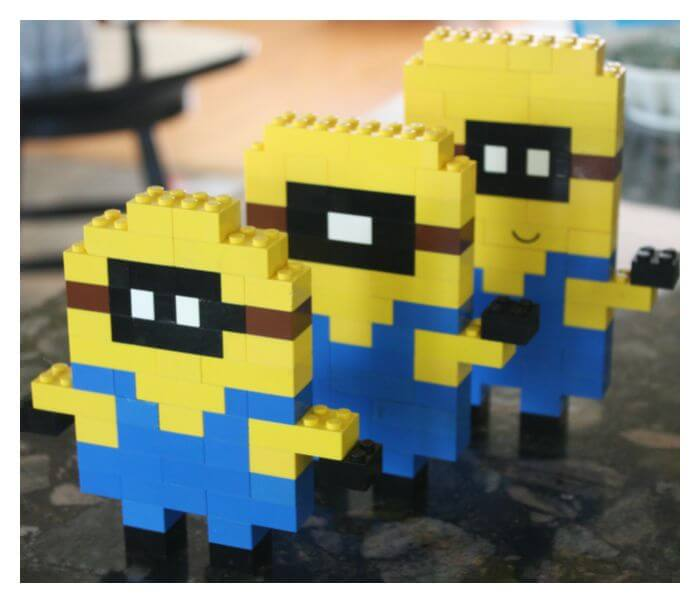 LEGO Minions Kevin, Bob, Stuart Made with Basic Brick Building