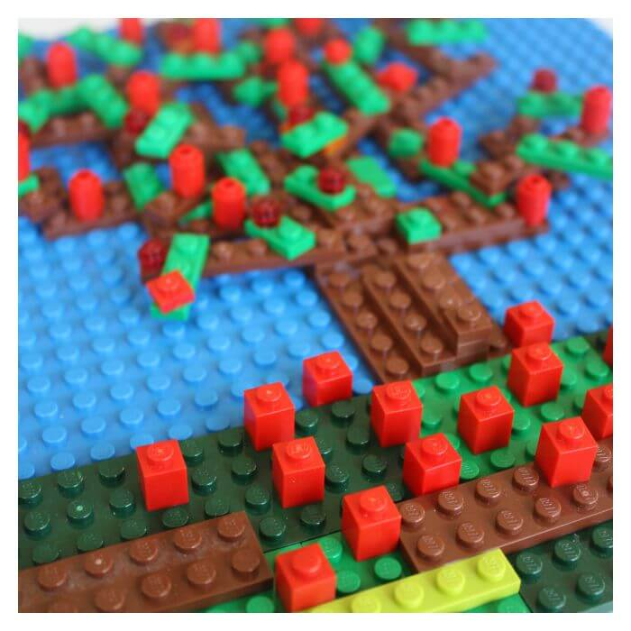 LEGO apple tree counting apples and designing mosaic with flat LEGO pieces