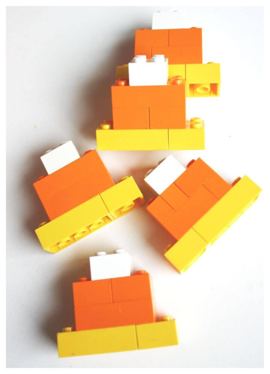 Lego halloween jack o lantern pumpkin candy corn stem for Easy build bricks