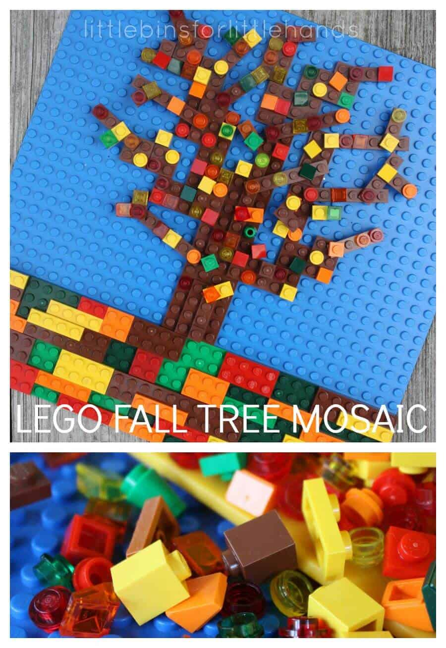 Fall tree mosaic lego steam fall activity for Lego crafts for kids