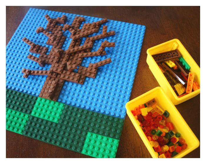 Lego Fall Tree Invitation to Create A Mosaic STEAM Fall