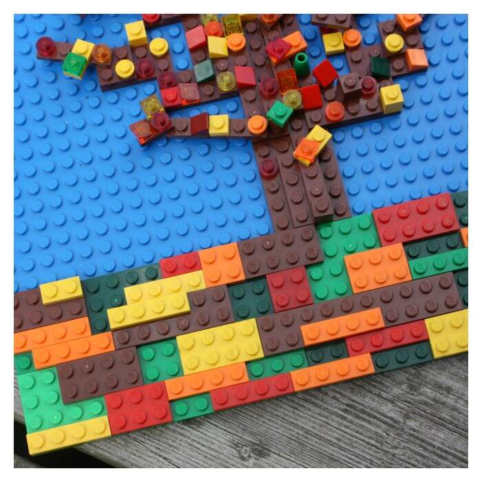 Lego Fall Tree Mosaic Layering Flat Lego Pieces to Create Picture