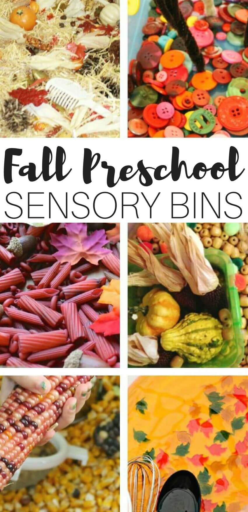 Fall is a fantastic time of year around here to check out a whole new palette of colors. We have deep red, orange, purple, and yellow hues every where you look from indian corn to changing leaves to gourds and mums. Fall is the perfect time of the year to observe and discover beautiful colors. These preschool Fall sensory bins capture the colors of Fall with hands on play and learning!