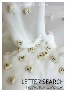Scrabble Tile Letter Slime Fine Motor Back to School Letter Activities and Sensory Play