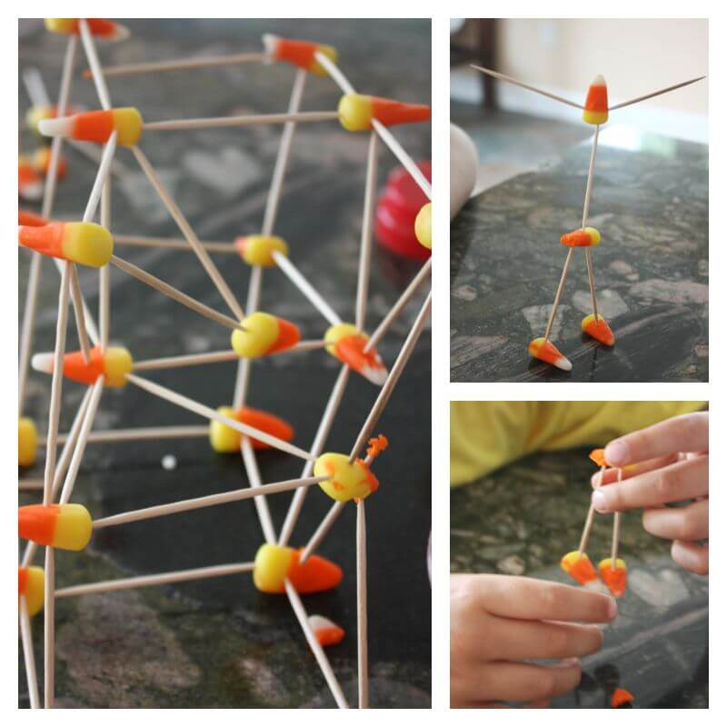 Candy Corn Structures Fall Dissolving Candy STEM activities
