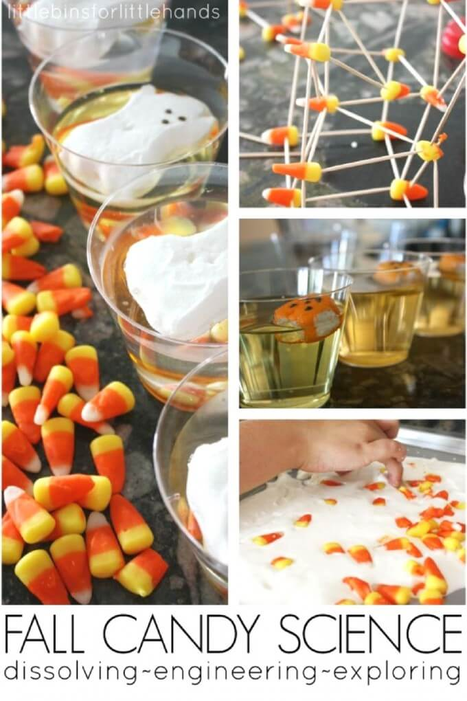 Dissolving candy fall science with Peeps and Candy Corn