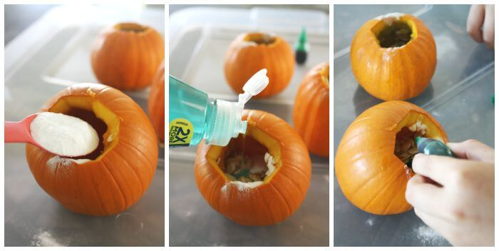 Making Mini Pumpkin Volcanos Fall Activity