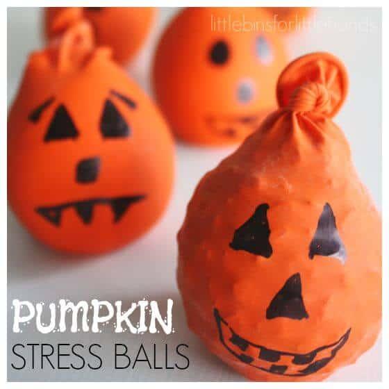 Pumpkin Stress Balls Halloween Sensory Activity