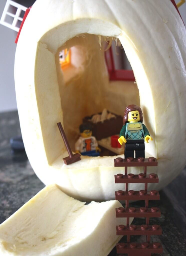 LEGO Small world play with white pumpkin for small