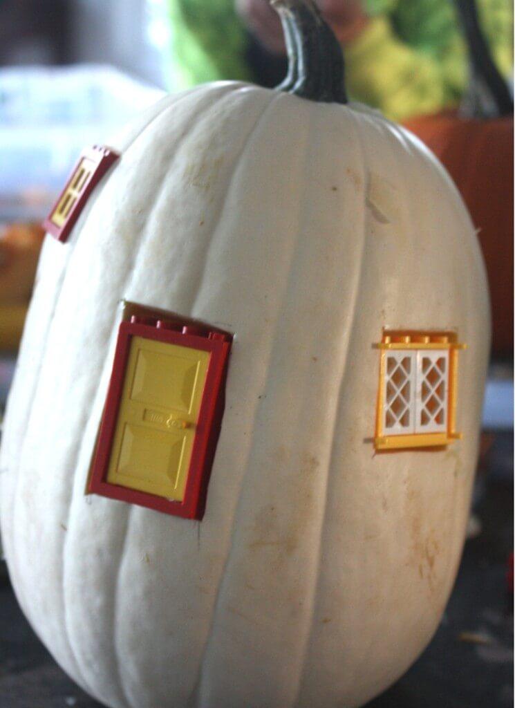 making a white pumpkin fairy house