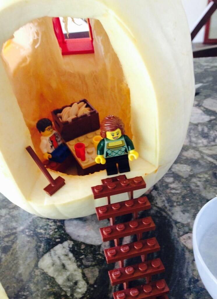 White Pumpkin Fall themed small world