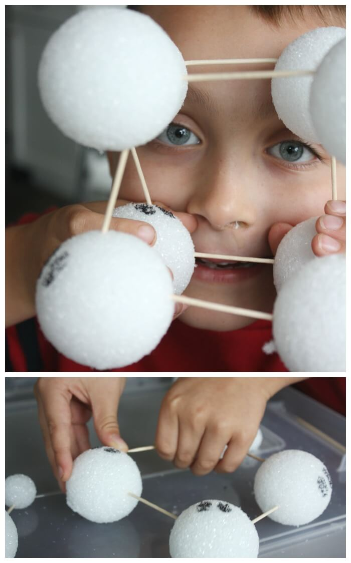 Ghost Styrofoam Structures with toothpicks and styrofoam balls making cube
