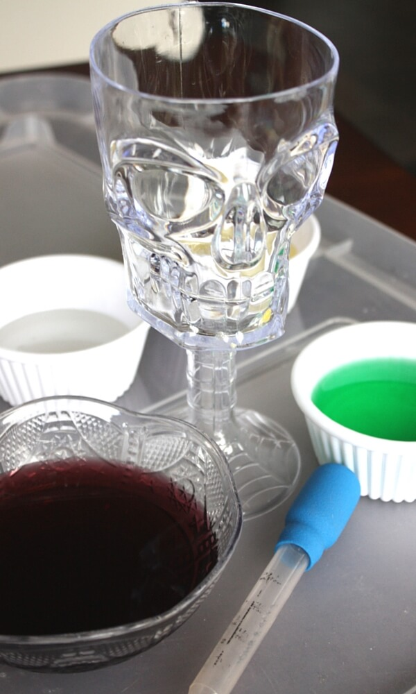 Halloween Density Experiemnt Set Up Liquids