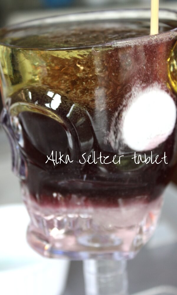 Halloween Density Science Adding Alka Seltzer Tablet