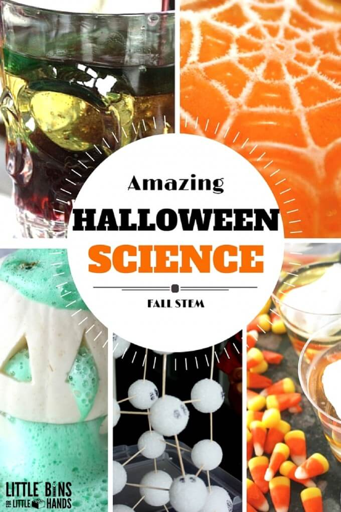 Halloween plus science equals pretty cool Halloween science experiments and STEM projects the whole family will find pretty cool! Easy Halloween activity ideas using simple supplies make for creative learning for all ages. When you aren't out pumpkin picking and cider donut eating this Fall, try out our Halloween science experiments and STEM activities. Make sure to join us for 31 Days of Halloween STEM Countdown.  HALLOWEEN SCIENCE EXPERIMENTS AND STEM IDEAS