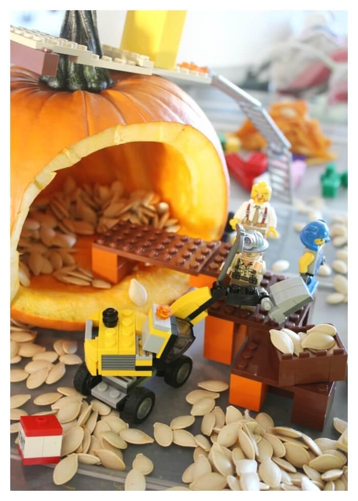 LEGO Pumpkin Excavation Small World Fall STEM