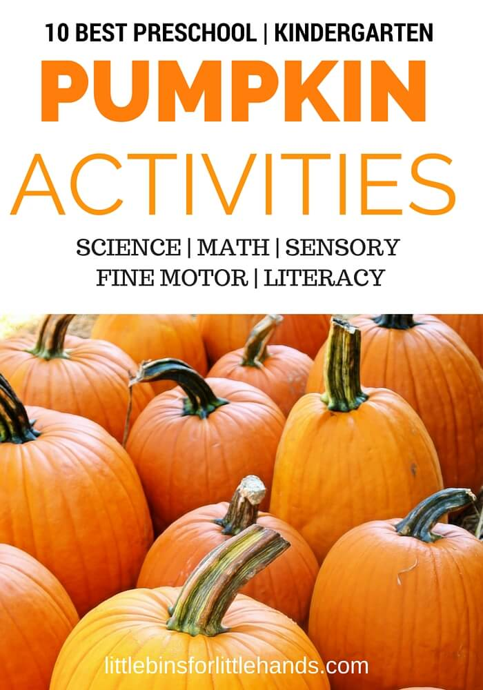 Best kindergarten and preschool pumpkin activities include pumpkin science, pumpkin STEM, pumpkin math, pumpkin sensory play, and pumpkin book ideas for kids!
