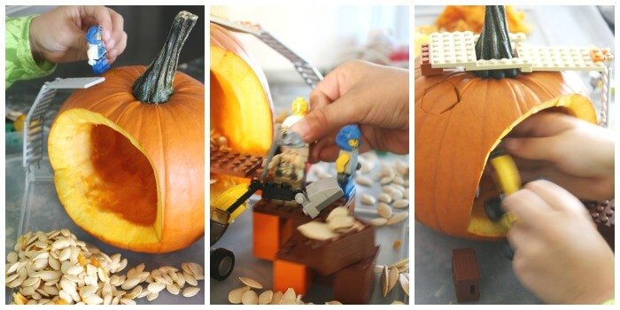 Pumpkin Play with LEGO Construction Excavating Pumpkin Seeds STEM