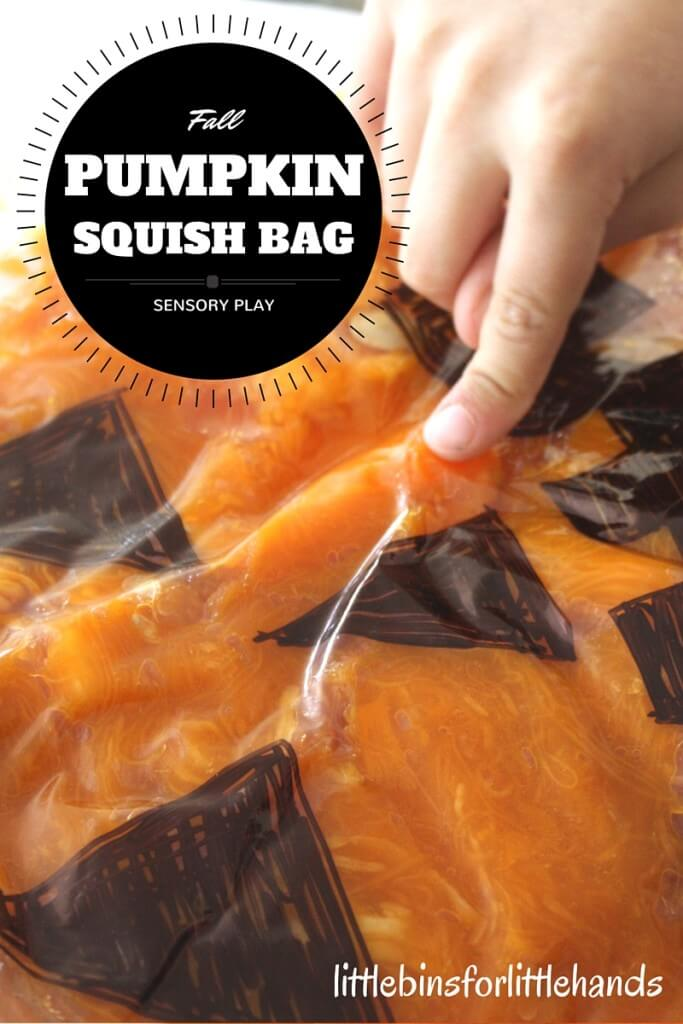 Pumpkin Sensory Bag Squish Bag Fall Sensory Activity