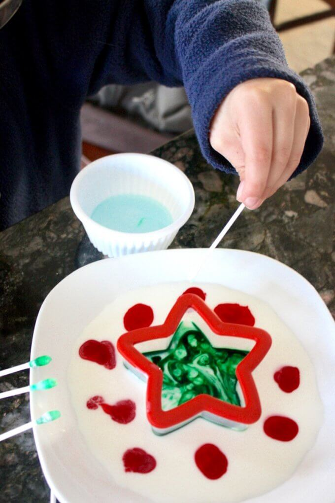 Experimenting with Christmas Magic Milk Science