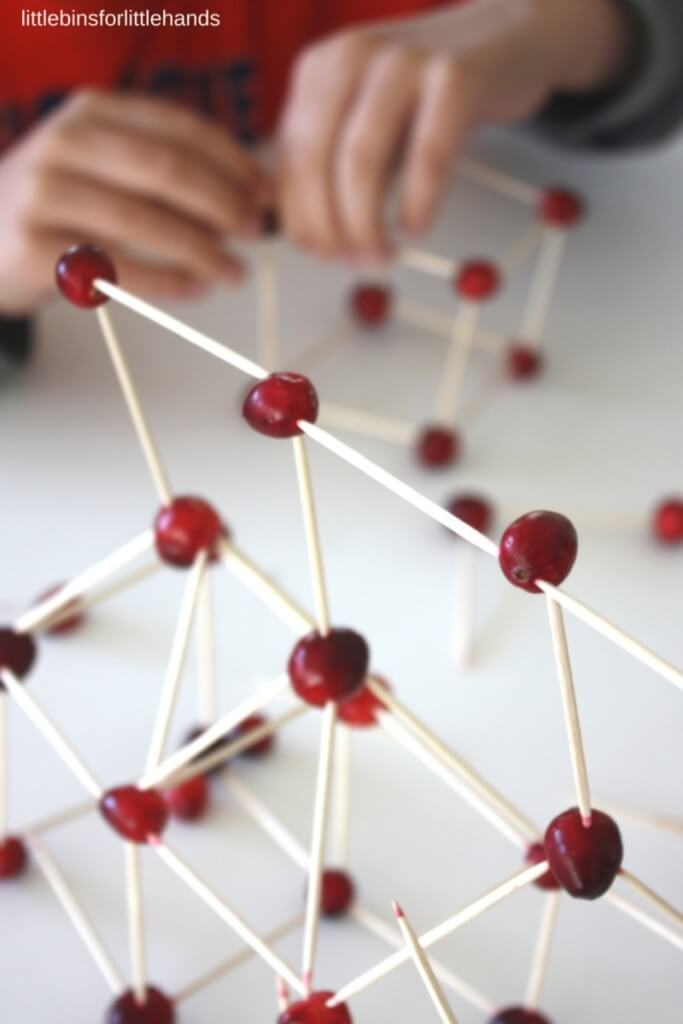 Building with Cranberries and toothpicks STEM