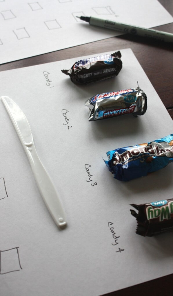 Candy Taste Test Setting out mini chocolate bars