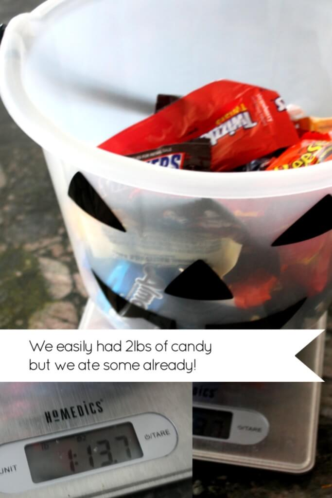 Candy math weighing halloween bucket of candy
