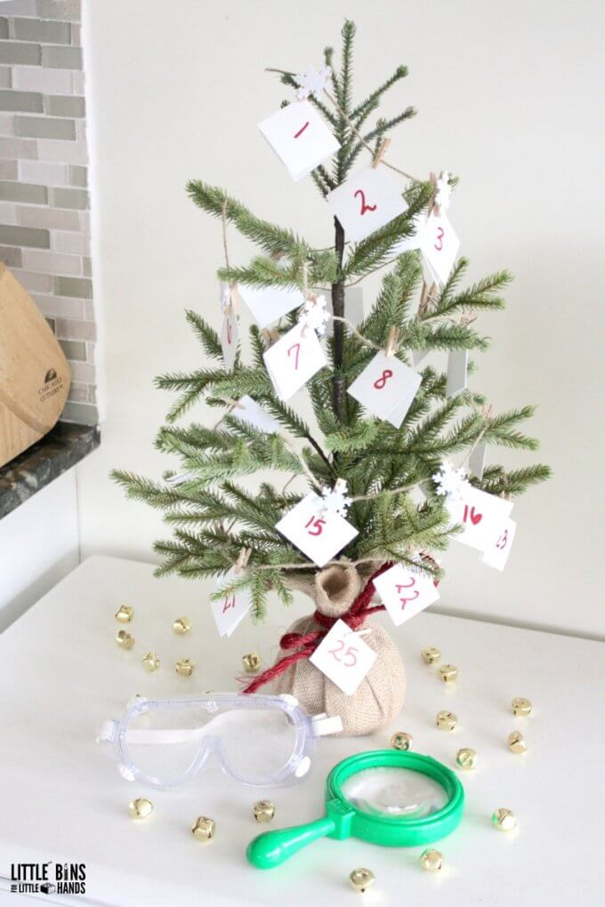 Easy to make Christmas Science Countdown Calendar tree artificial tree and paper