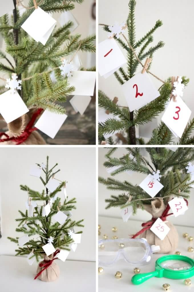 Christmas STEM countdown calendar tree for science activities