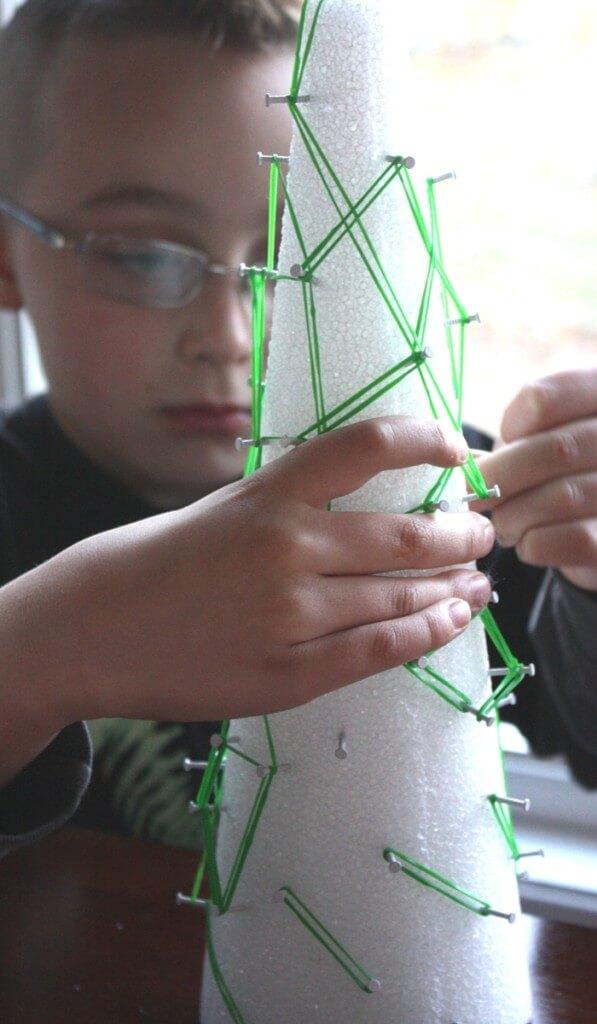 Christmas Tree Fine Motor Activity with Geoboard Math