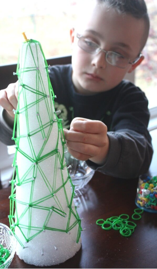 Christmas Tree Geoboard Math and Fine Motor Play
