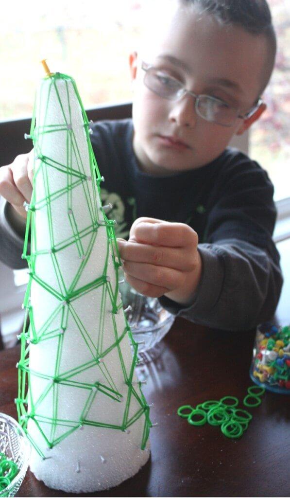 Christmas Tree Geoboard Math and Fine Motor Play