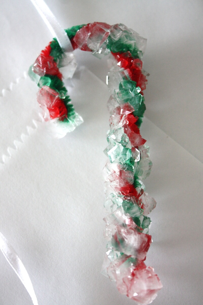 Large candy cane ornaments - Crystal Candy Canes Using Red And Green Pipe Cleaners