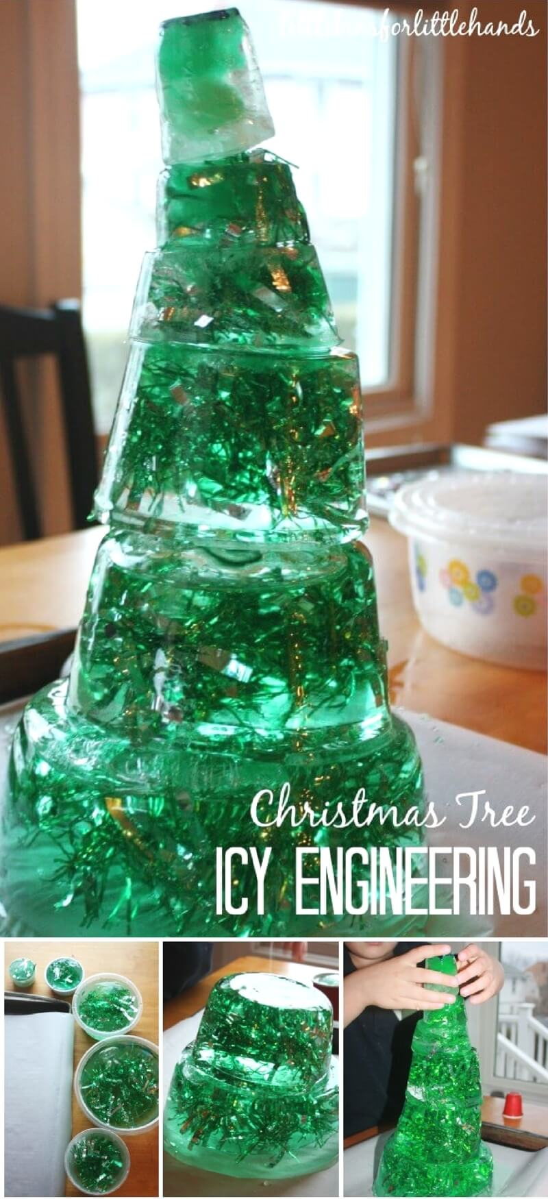 How many ways can you engineer a Christmas tree! We have thought of a few fun ways to play around with Christmas tree STEM this holiday season that don't use just real trees! This icy Christmas tree STEM project was super fun and also a fun family activity. We had a great time piecing together this icy Christmas tree before it melted. Check out the unique ways that science and STEM can be a part of your holiday activities.