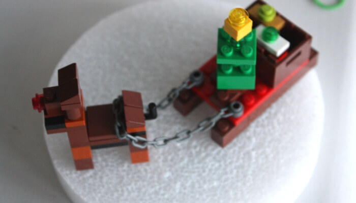 LEGO reindeer sled and presents
