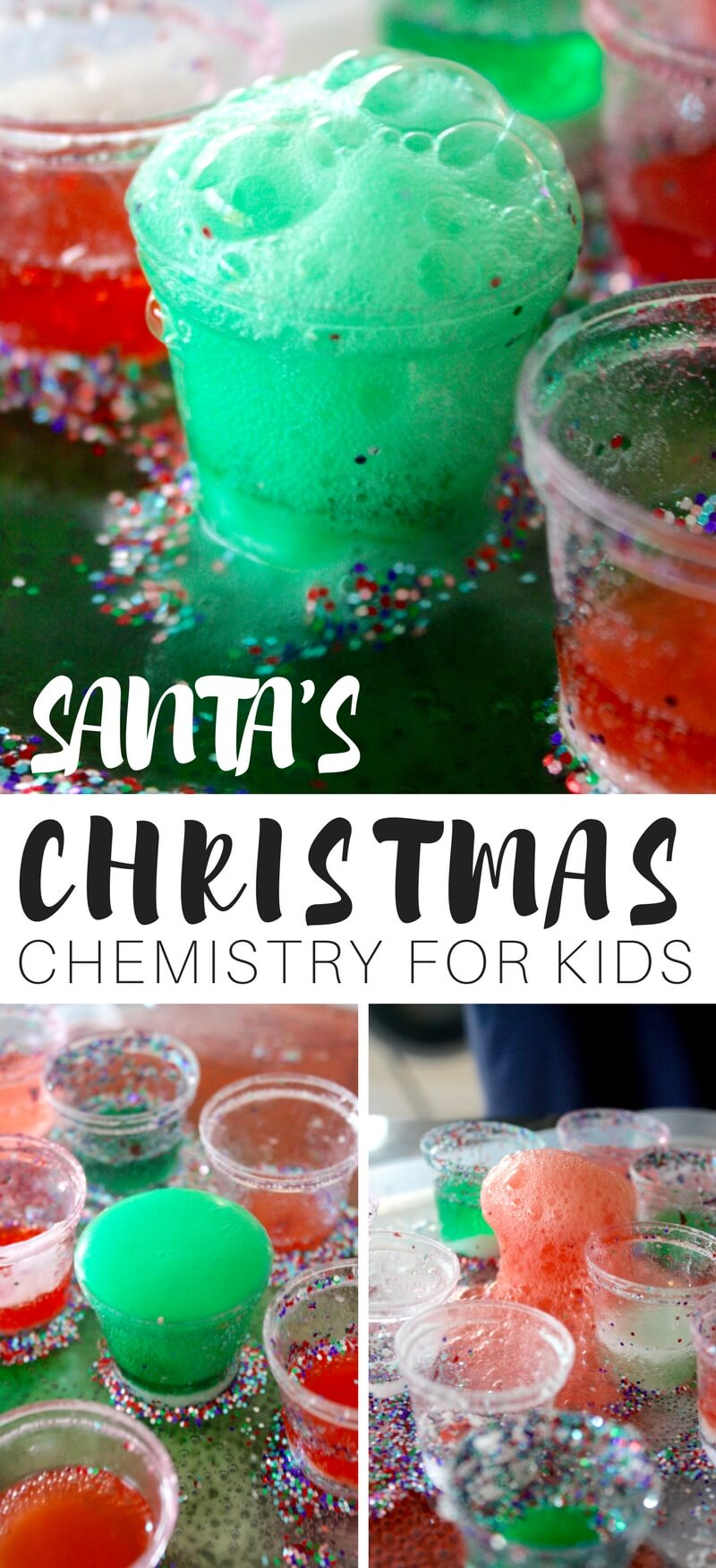 Glitter everywhere with easy holiday science. Try our festive santa eruptions with a classic baking soda science activity. This no fuss Christmas science experiment is perfect for busy days. Join us for our 25 Days of Christmas STEM Countdown and countdown to Christmas with lots of fun, easy, and frugal STEM activities and science experiments all with a holiday theme.
