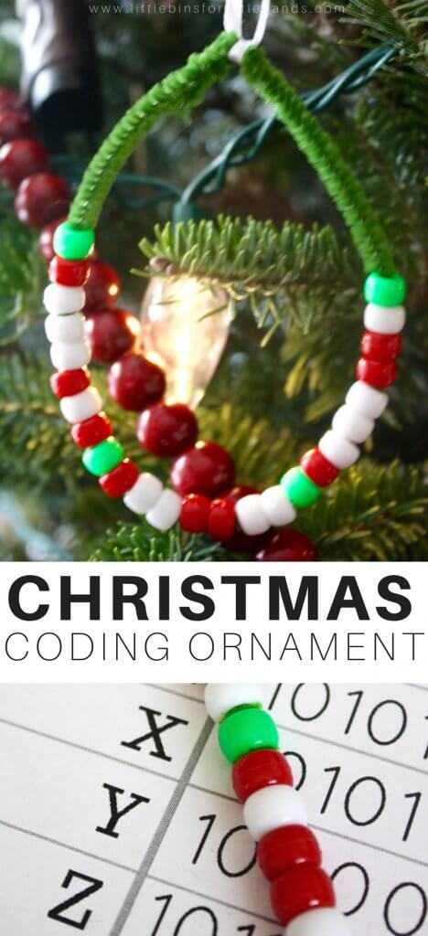 Use the Binary Alphabet for this fun Christmas Coding Activity STEAM Ornament activity and science experiment for kids! Your child will love it! Such a simple and fun experiment for kids!