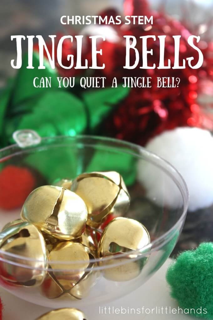 Can you quiet a jingle Bell? Try a fun Christmas Jingle Bell STEM Challenge to see if you can! This fun science experiment for kids is perfect! #STEM #science