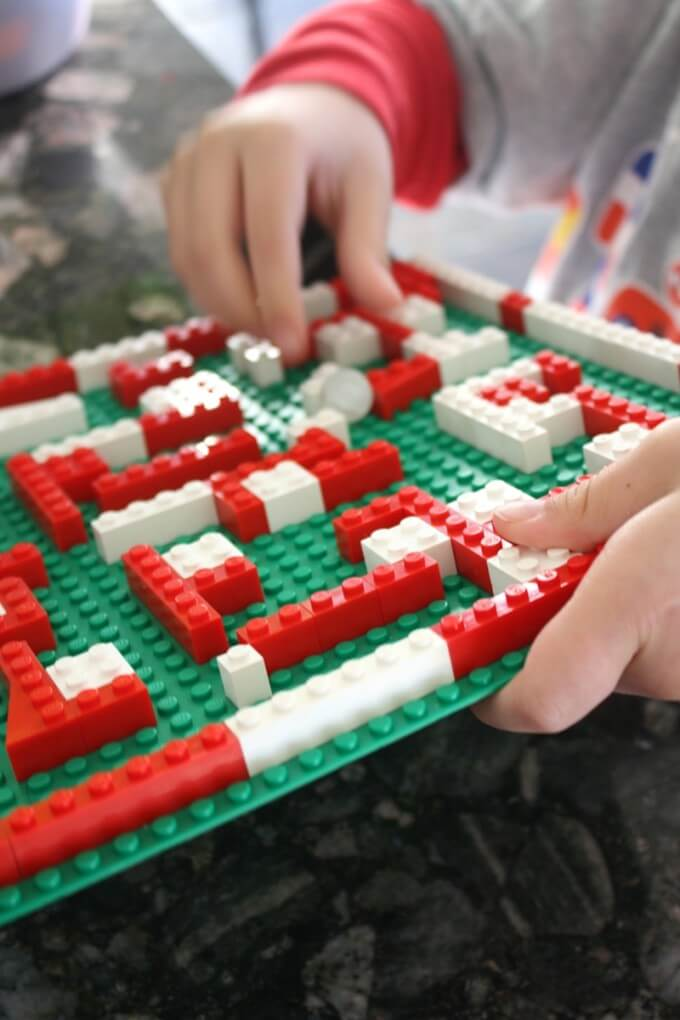 LEGO Christmas Marble Maze Visual and Fine Motor Skills Work