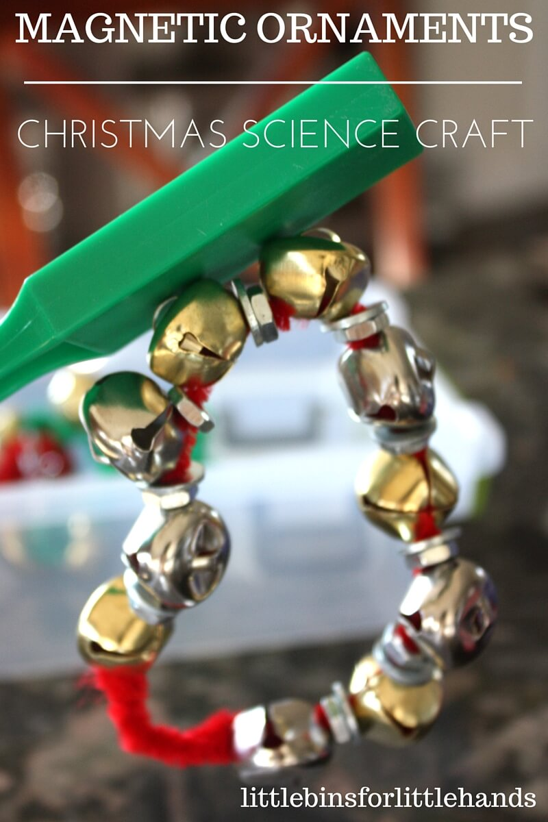 The 25 Days of Christmas STEM Countdown continues! Over here we aren't makers of super crafty things, but I still want to make ornaments with my son and share the experience. Sometimes you have to think outside the box to get your kids interested. That's exactly what I did with these fun and simple magnetic ornaments Christmas science activity that doubles as a craft too.