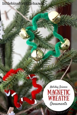 Magnetic Ornaments on tree Christmas craft activity